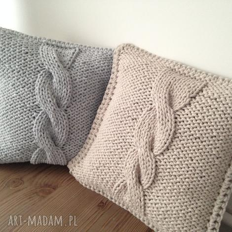 poduszka ze sznurka bawełnianego , sznurek, handmade, druty, dom, salon, sypialnia
