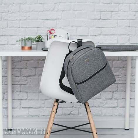 farbotka plecak damski 706 szary melanż, pikowany, pojemny, lekki, szkoła