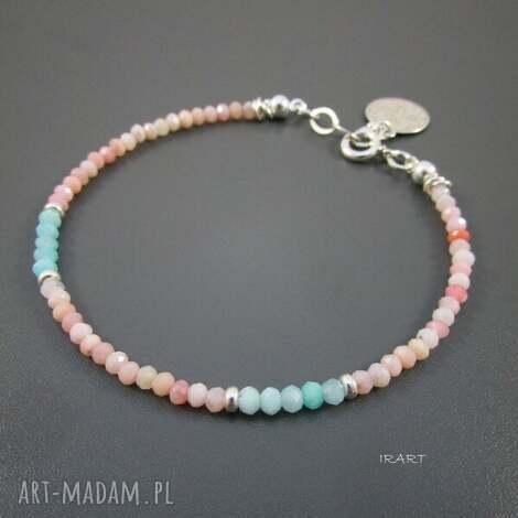delikatna z opalu i amazonitu, opal, srebro, amazonit biżuteria