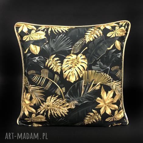 poduszki poduszka złote liście 45x45cm, dekoracyjna, złota