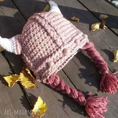 czapka lady viking czapka szydełkowa, wiking, dziewczęca,