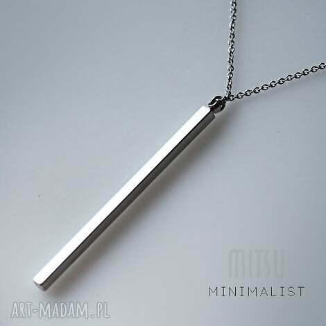 srebrny monolit - długi, wisior, nowoczesny, minimalistyczny, prosty, srebrny