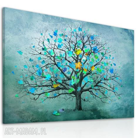 nowoczesny obraz do salonu drukowany na płótnie z drzewem, turkusowe drzewo