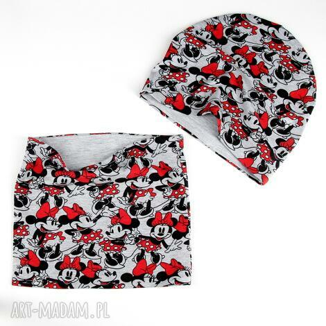 zestaw dla dziecka minnie myszka czapka komin, ciepły