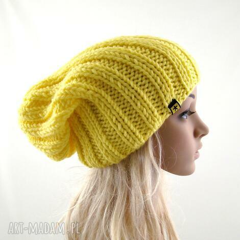 żółta czapka damska, zimowa zima uniwersalna ściągaczowa, prezent