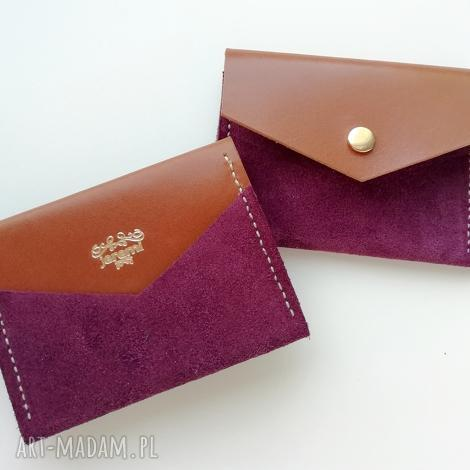 JEREMI: rachel skórzana zamszowa portmonetka - purpura portfelik na karty etui na karty