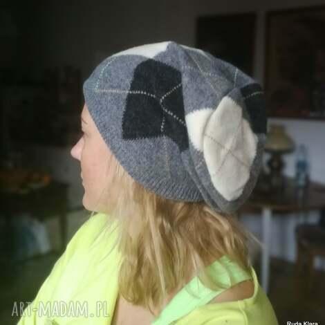 czapka damska zimowa etno boho szara handmade, wełna, kolorowa, folk