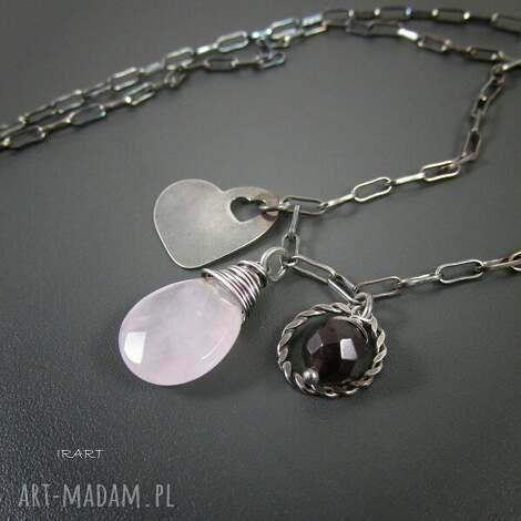 naszyjniki serce z różowym kwarcem, kwarc, srebro, biżuteria