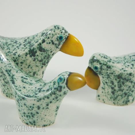 ceramika wróble miętowe, ptaki, zwierzęta, ceramika, dekoracja, figurki