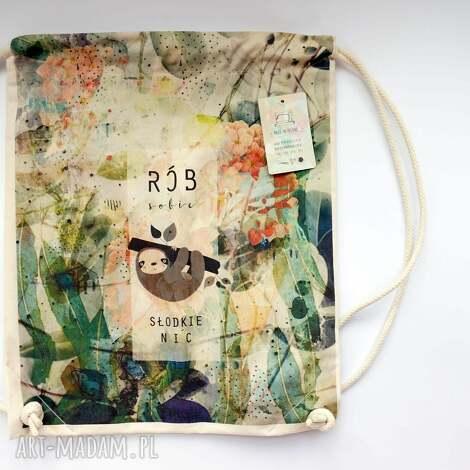 słodkie nic plecak / worek torba - płócienna, eco, dzień matki, leniwiec, bawełna