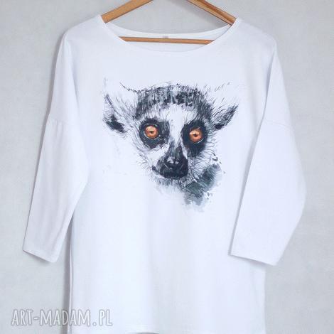 bluzki lemur bluzka oversize bawełniana s/m biała, bluzka, koszulka, bluza, bawełna