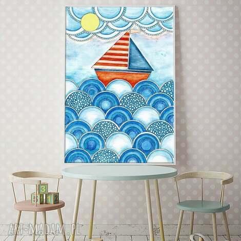 Łódka a3 - plakat, obrazek, ilustracja, łódź, pokój