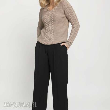 klasyczny sweterek, swe186 mocca mkm, sweter, klasyczny, mocca, dekolt
