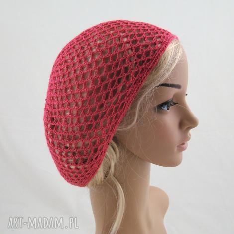 malinowa plażowa siatka na włosy - letnia, ażurowa, czapeczka, czapka, prezent