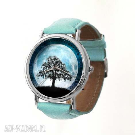 księżycowe drzewo - skórzany zegarek z dużą tarczą - zegarek