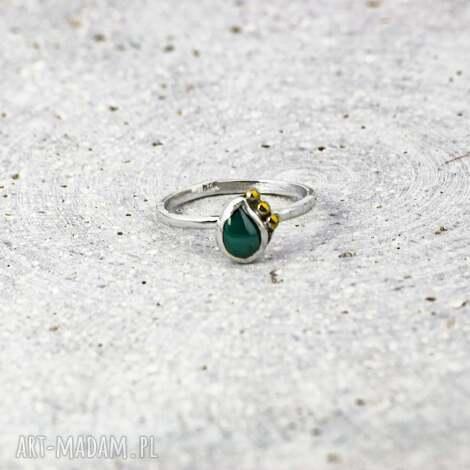 agat zielony, pierścionek z kamieniem, agat, pierscionek srebrny, srebro 925