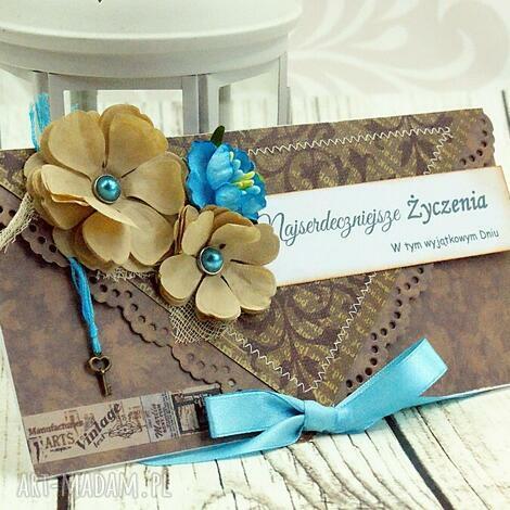 kopertówka uniwersalna - turkusy i brązy - ślub, urodziny, imieniny, kartka