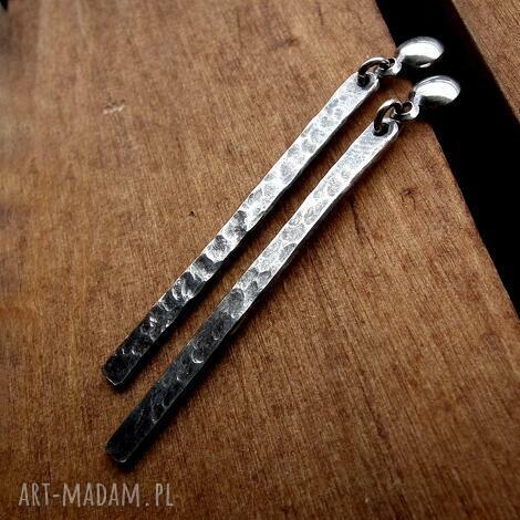 kolczyki sople fakturowane- srebro pr 925 - długie, wiszące, codzienne, wyraziste