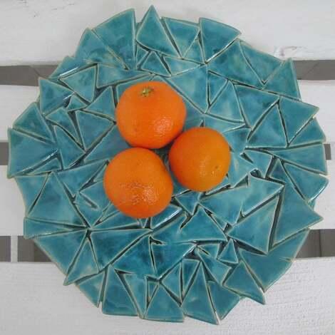 ceramika turkusowa patera w trójkąty, ceramiczna, patera, nowoczesna