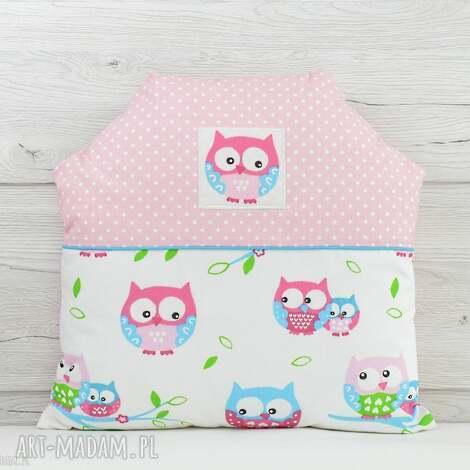 poduszka dekoracyjna dla dziecka 40x40cm domek sowy - poszewka, dekoracja, bawełna