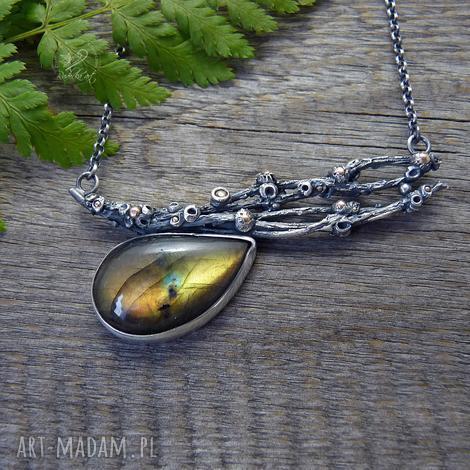 gałązki i złoty labradoryt - srebro, natura, organiczny, gałązki, boho