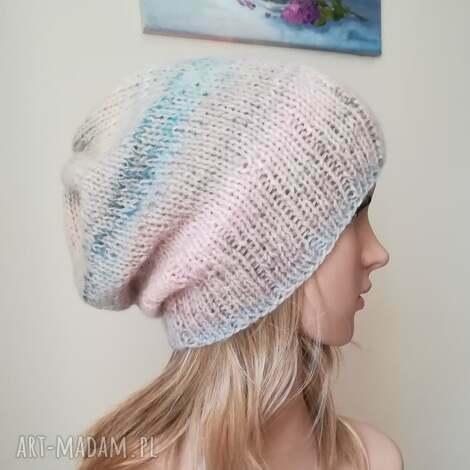 czapki pastele w beżu czapka, rękodzieło, pastele, zima