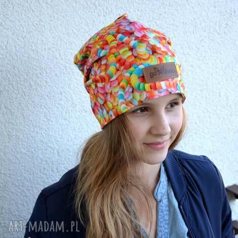 kolorowa czapka cukierki lentylki beanie - czapka, kolorowa, beanie, ciepła, prezent