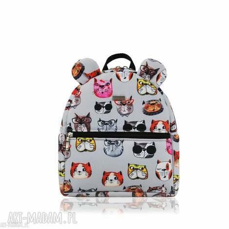 farbotka plecaczek farbiś 2083 koty szare, ręcznieszyte, wygodna, pojemna, nacodzień