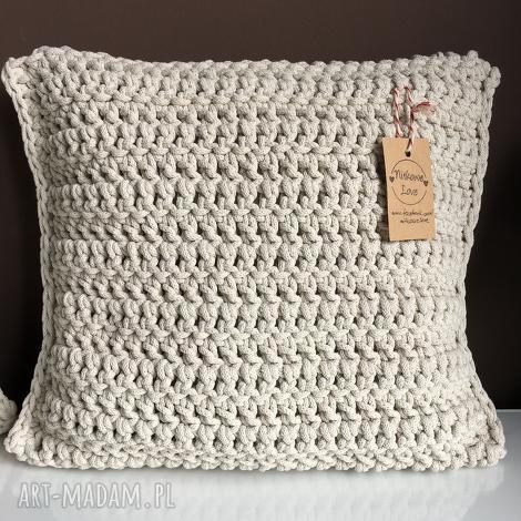 poduszka ze sznurka bawełnianego krem 40x40 cm, poduszka, poszewka, sznurek, handmade
