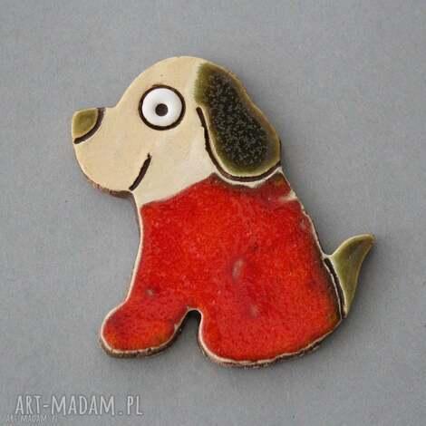 psinka - magnes ceramika, upominek, kolekcjoner, prezent, pies, lodówka, radość