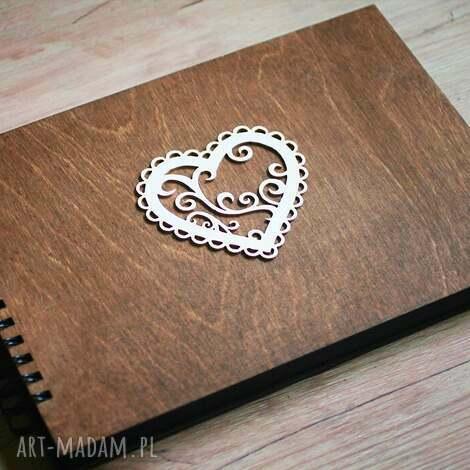 album na zdjęcia do samodzielnego wyklejania, album, księga, gości, drewno, serce