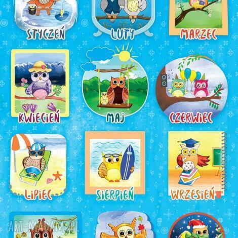puzzle magnetyczne miesiące piękne ilustracje, miesiące, sowy, puzzle, magnesy