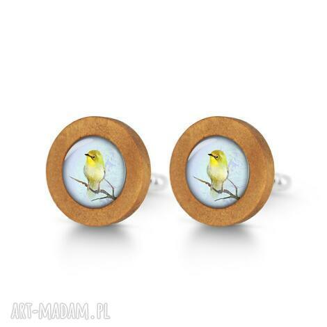 żółty ptaszek - drewniane spinki do mankietów - spinki mankietów, ptak