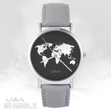 zegarki zegarek - mapa świata szary, skórzany, zegarek, bransoletka, skórzany