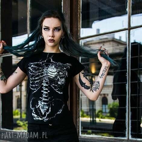 koszulki damska czarna koszulka ze szkieletem szkielet puszczy, halloween