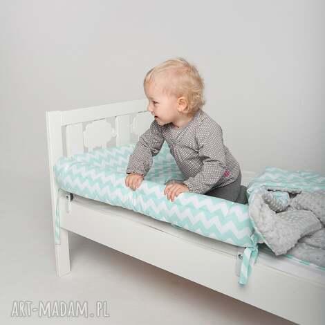 ochraniacz do łóżeczka łóżka ikea - miętowe zygzaki