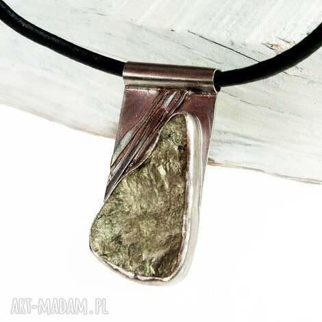 a529 naszyjnik z surowym pirytem - naszyjnik, srebrny, surowy, pirytem