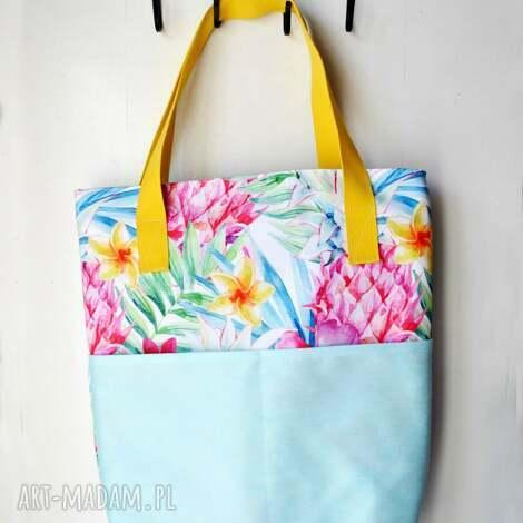 tropikalna torba z uszami, torba, na, ramię, tropikalna, niebieska na