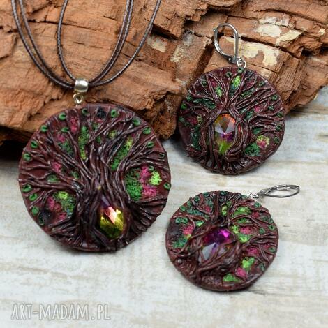 magiczne drzewo - oyginalny komplet biżuterii z kryształami, biżuteria