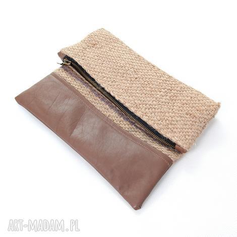 kopertówki kopertówka z juty len do ręki naturalna juta wege, kopertówka