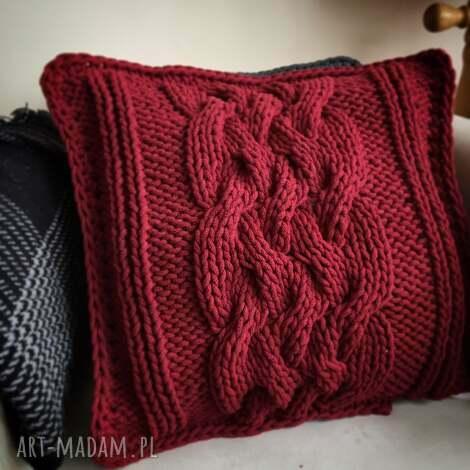 poduszki poduszka dziergana plecionka warkoczowa, poduszki, homdecor, homdesign