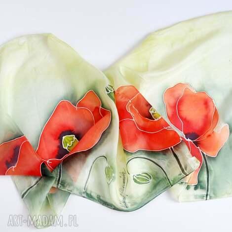 malowany szal - duże maki na zieleni, jedwabny szalik, makowy szal, czerwone maki