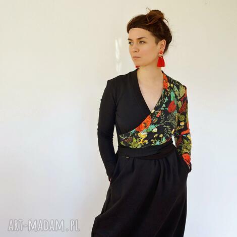 sukienka z dzianiny - gaja maxi, długa czarna sukienka, w kwiaty
