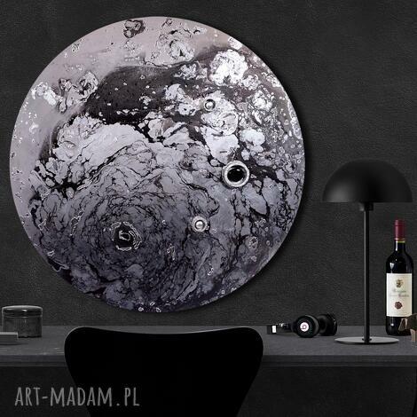 krajobraz księżycowy 27, wszechświat, księżyc, ziemia, tondo, abstrakcja