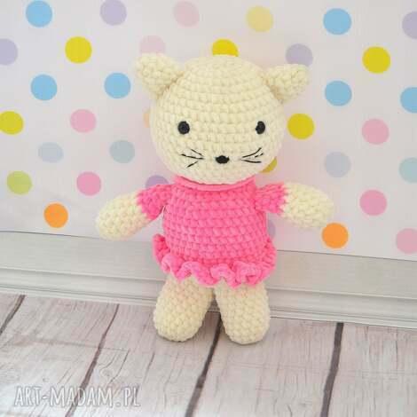 maskotki pani kotek w różowej sukience, personalizacja, imię, prezent, milusi