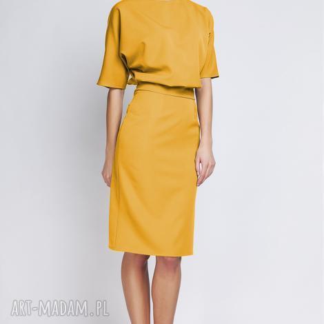 lanti urban fashion sukienka z dopasowanym dołem, suk123 musztarda