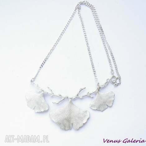 srebrny naszyjnik - miłorzębowy biały - bizuteria, srebro, naszyjnik