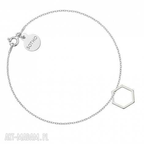 bransoletki srebrna bransoletka z sześciokątem, srebro, modna, kobieca