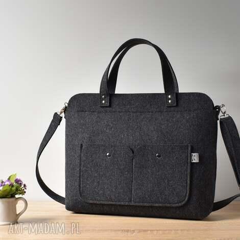 aneta pruchnik elegancka grafitowa antracytowa filcowa torebka na laptopa