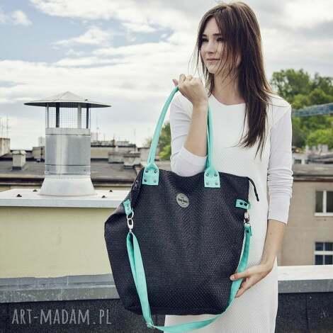 worek xl #black aquamarine, plecionka, czarna, seledyn torebki, prezent na święta